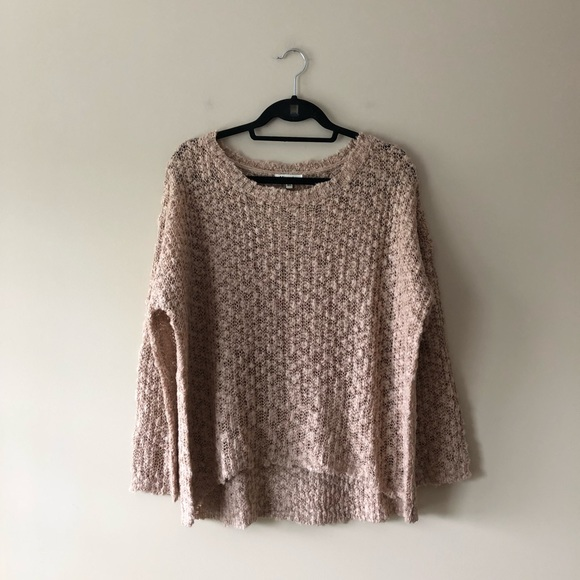 Miracle Sweaters - Miracle light tan textured open knit sweater